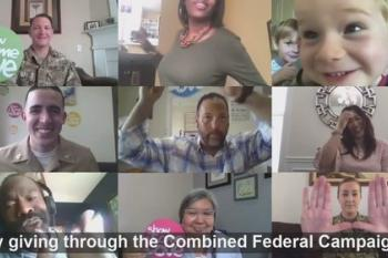 Screenshot from retiree video featuring mosaic of federal employee photos
